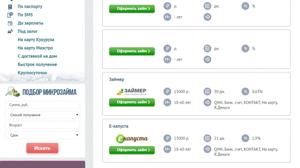 Перечень сервисов онлайн-займов на Яндекс деньги