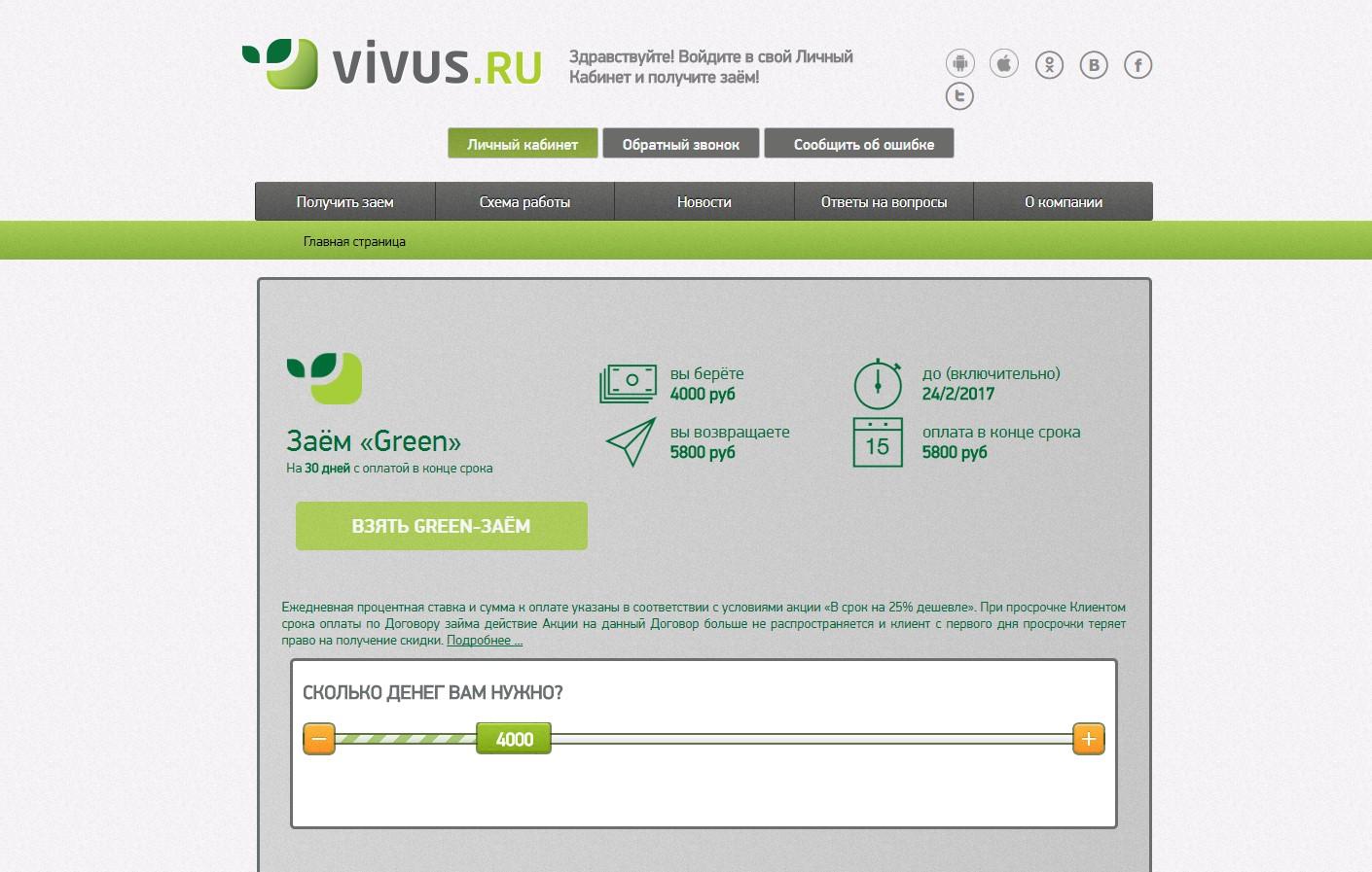 Займ вивус онлайн заявка займ на карту мгновенно без посещения офиса