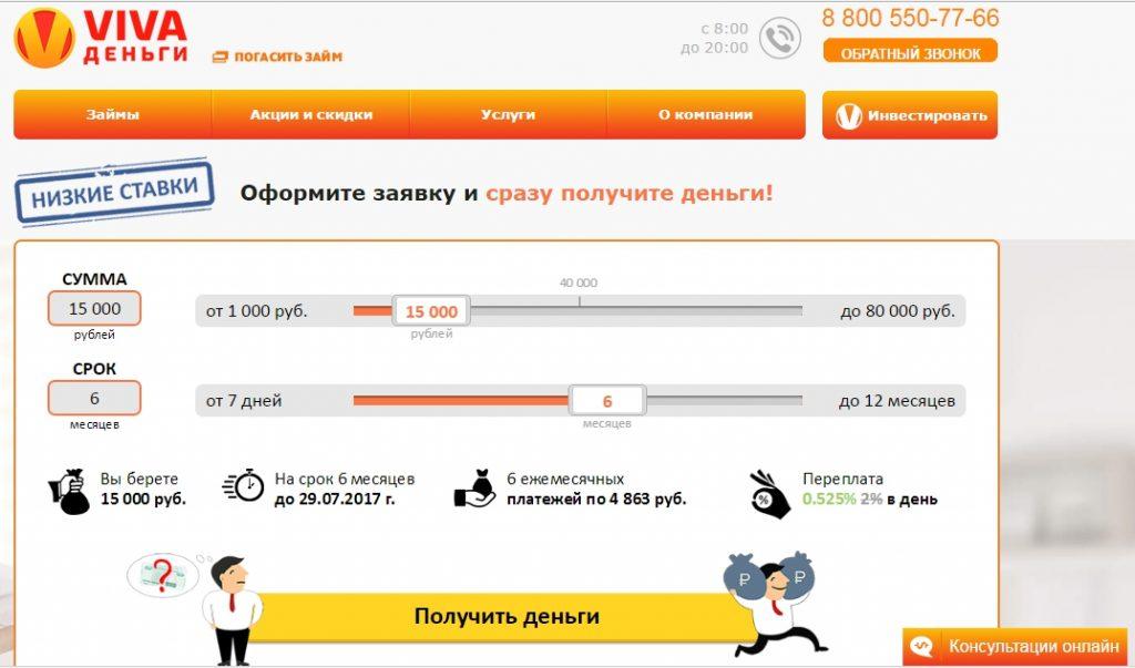 Условия получения займа в МФО Вива Деньги