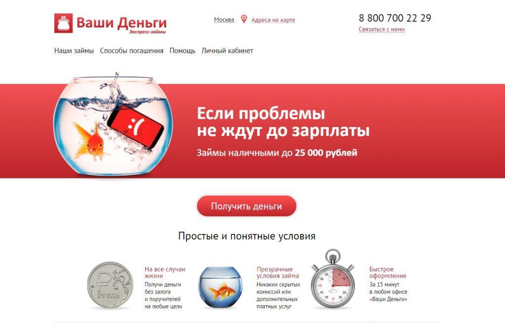 Сайт компании Ваши деньги