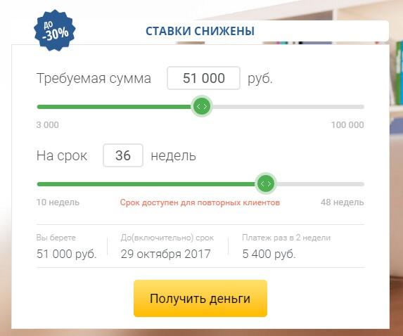 Калькулятор МигКредит