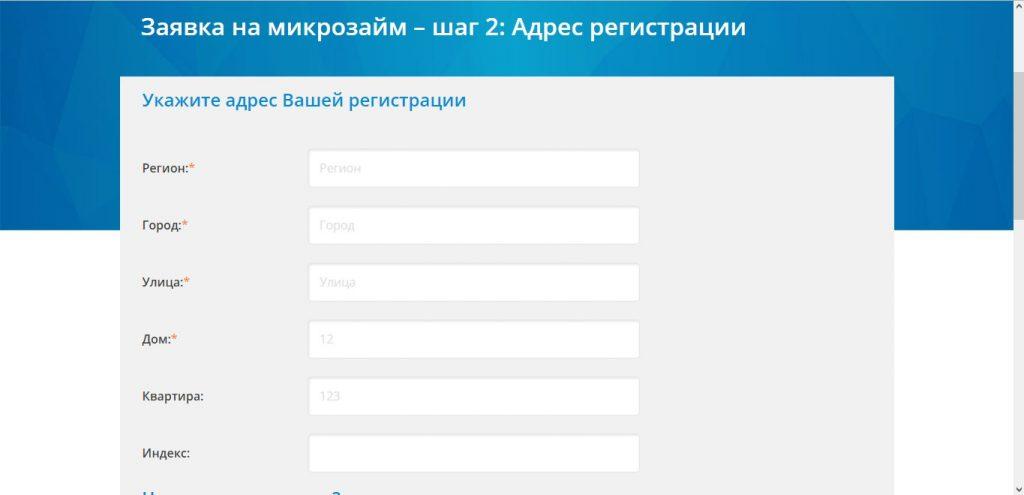 Регистрация в сервисе «Мой.Займ» - шаг 2
