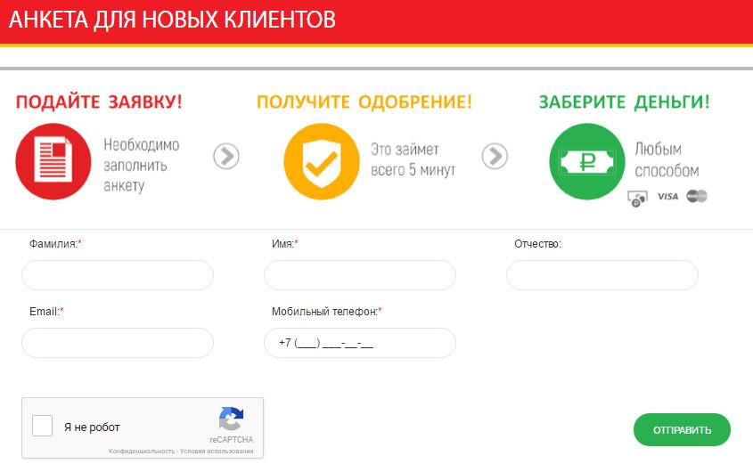 Процедура оформления заявки в МФО «До зарплаты»