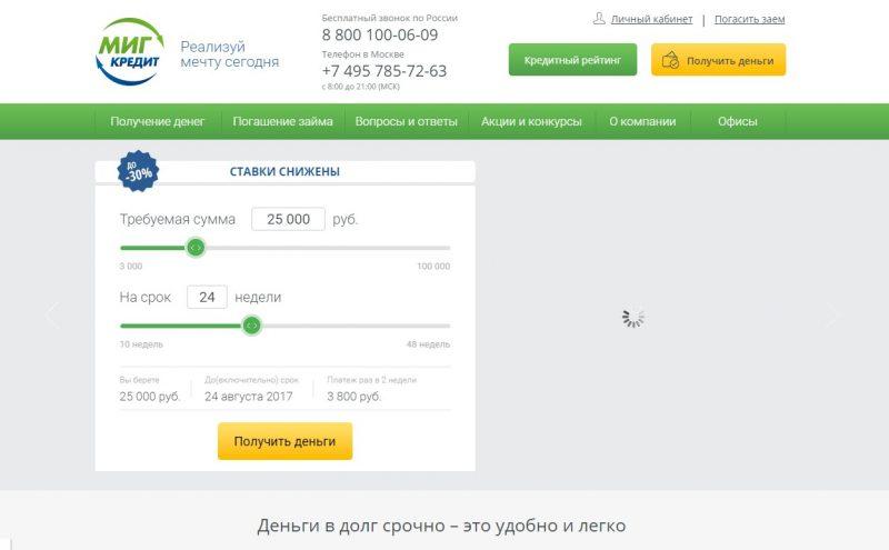Сайт МигКредит
